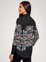 Блузка прямого силуэта с принтом oodji для женщины (черный), 21411112/46204/2945E