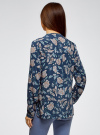 Блузка принтованная из вискозы oodji #SECTION_NAME# (синий), 11411049-1/24681/7912F - вид 3