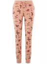 Брюки трикотажные на завязках oodji для женщины (розовый), 16701042-1B/46919/5435O