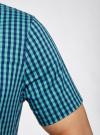 Рубашка приталенная в клетку oodji #SECTION_NAME# (зеленый), 3L240005M/39767N/6C79C - вид 5