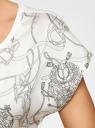 Футболка из комбинированной ткани с принтом oodji для женщины (белый), 11405140-1/46724/1229O