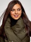Куртка стеганая с объемным воротником oodji для женщины (зеленый), 10200079/45913/6800N - вид 4