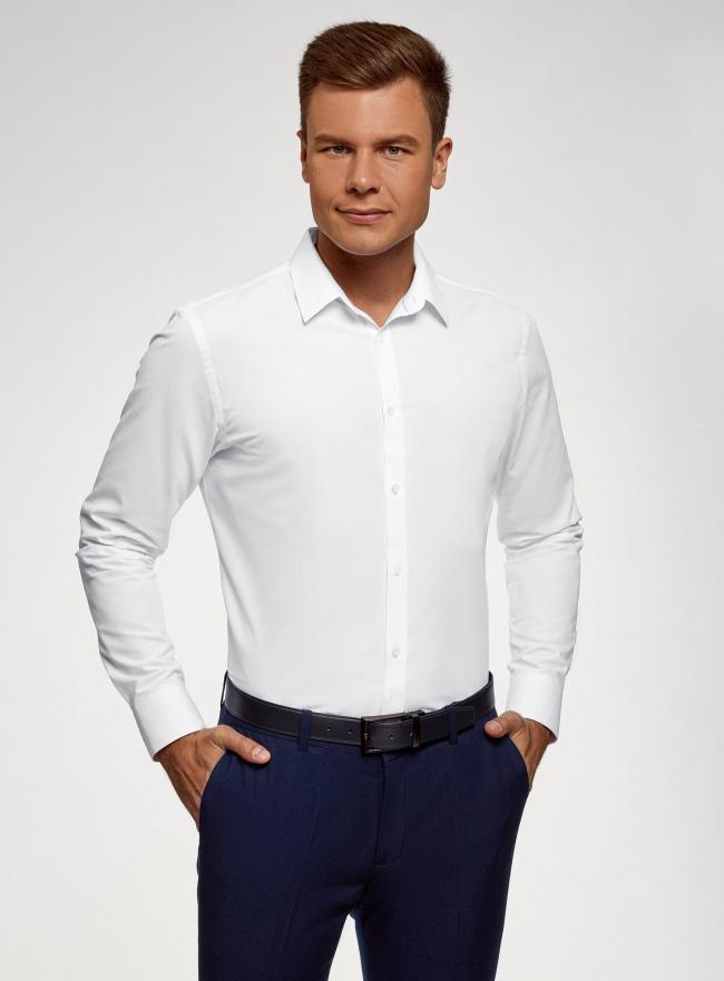 Рубашка хлопковая приталенная oodji для мужчины (белый), 3B110208M/44355N/1000N