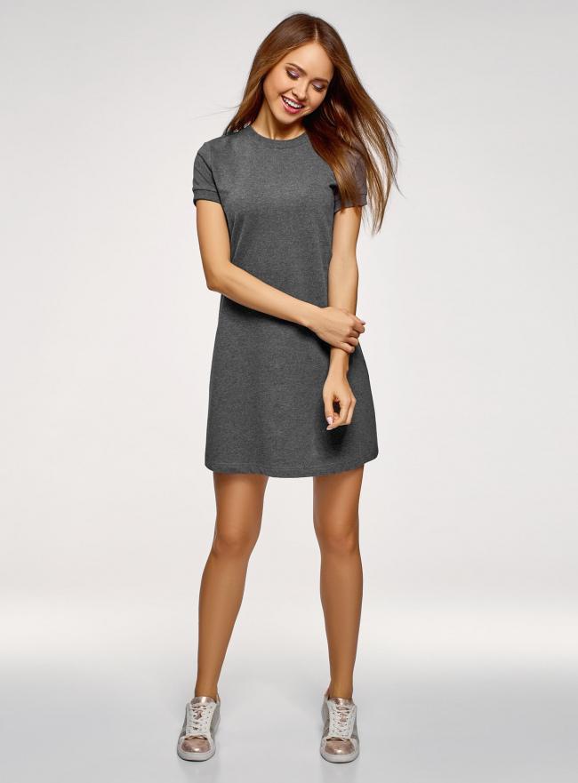 Платье трикотажное свободного силуэта oodji для женщины (серый), 14000162B/47481/2500M