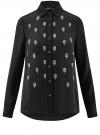 Блузка из струящейся ткани с украшением из страз oodji #SECTION_NAME# (черный), 11411128/36215/2900N