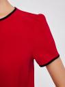 Блузка с коротким рукавом и контрастной отделкой oodji #SECTION_NAME# (красный), 11401254/42405/4500N - вид 5