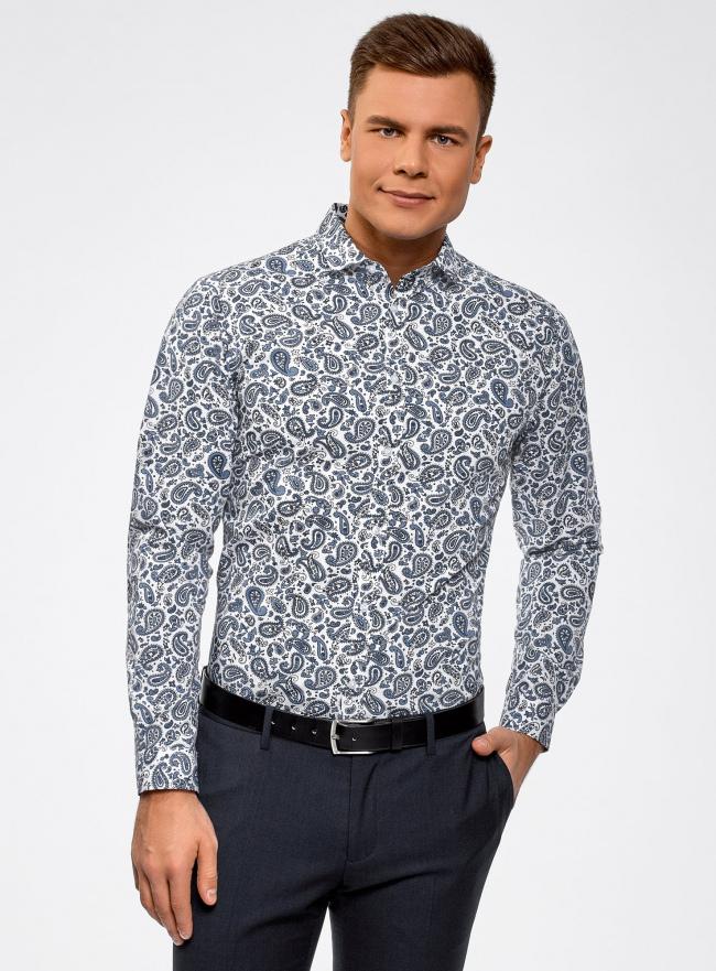"Рубашка хлопковая с принтом ""пейсли"" oodji #SECTION_NAME# (синий), 3L110325M/19370N/1079E"