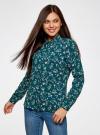 Блузка принтованная из вискозы oodji #SECTION_NAME# (зеленый), 11411087-1/24681/6C41F - вид 2