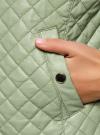 Куртка стеганая из искусственной кожи oodji #SECTION_NAME# (зеленый), 28A03001/45639/6000N - вид 5