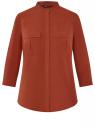 Блузка вискозная с нагрудными карманами oodji #SECTION_NAME# (коричневый), 11403225-7B/42540/4901N