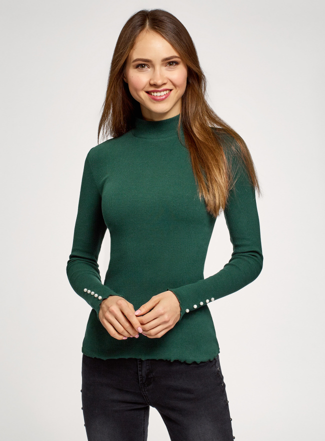 Водолазка базовая из хлопка oodji для женщины (зеленый), 15E11009-3/48037/6900N