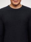 Джемпер базовый с круглым вырезом oodji #SECTION_NAME# (синий), 4L112209M/25019N/7900M - вид 4