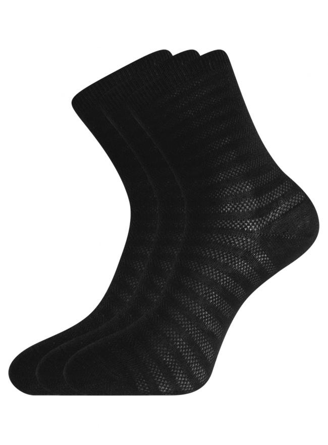 Комплект хлопковых носков в полоску (3 пары) oodji для женщины (черный), 57102813T3/48022/3