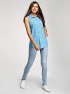 Топ вискозный с нагрудным карманом oodji для женщины (синий), 11411108B/26346/7510Q - вид 6