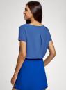 Блузка вискозная свободного силуэта oodji #SECTION_NAME# (синий), 21411119-1/26346/7500N - вид 3