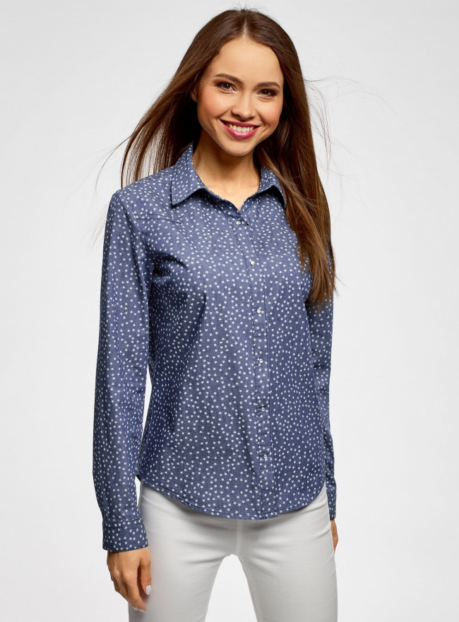 Рубашка джинсовая принтованная oodji #SECTION_NAME# (синий), 16A09003-3/47735/7512G