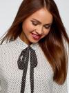 Блузка вискозная с завязками oodji #SECTION_NAME# (белый), 11411169/24681/1229D - вид 4