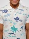 Поло прямого силуэта с пляжным принтом oodji для мужчины (белый), 5L412001I/46737N/1275G