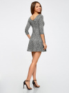 Платье трикотажное принтованное oodji #SECTION_NAME# (серый), 14001150-3/33038/1229A - вид 3