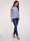 Топ базовый из струящейся ткани oodji для женщины (синий), 14911006-2B/43414/7500N - вид 6