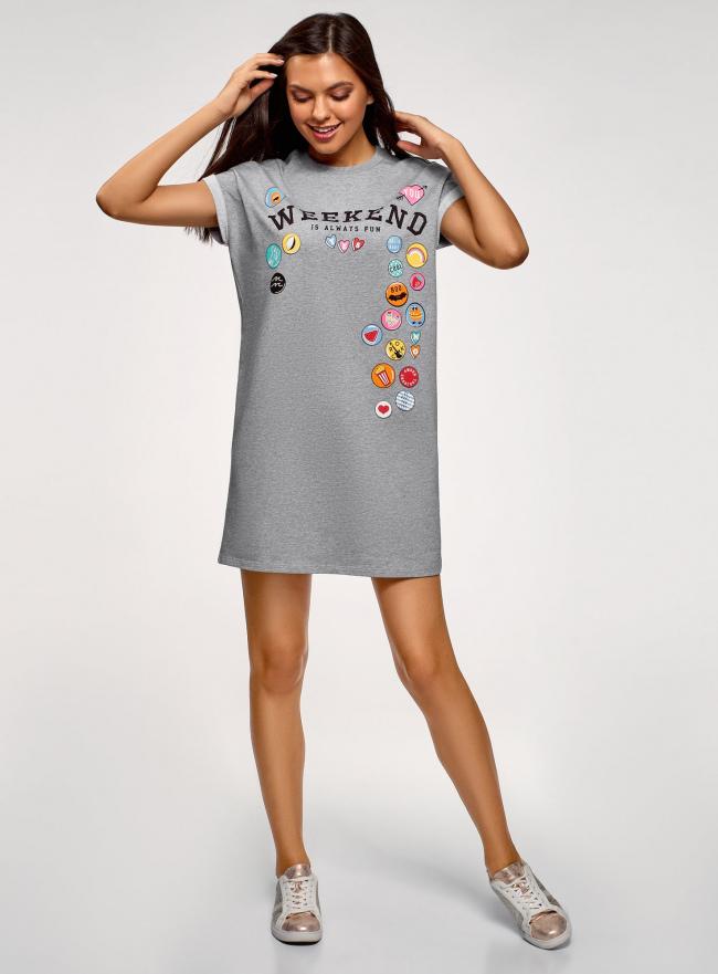 Платье-футболка с принтом и отворотами на рукавах oodji для женщины (серый), 14008020-2/47999/2019Z