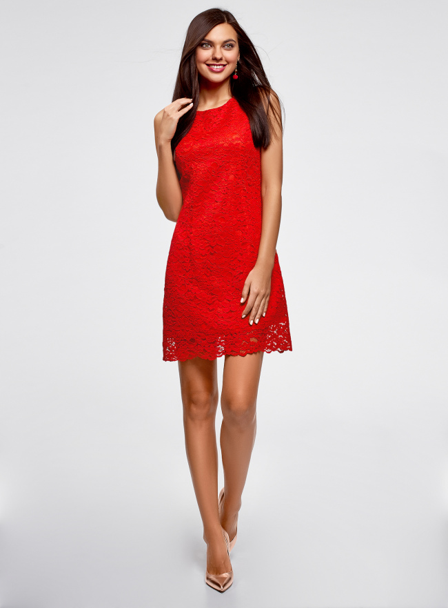 Платье из кружева без рукавов oodji #SECTION_NAME# (красный), 11905022-2/42984/4500N