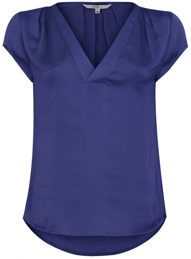 Блузка с коротким рукавом и V-образным вырезом oodji для женщины (синий), 11411100/45348/7900N