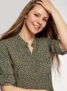 Блузка вискозная с регулировкой длины рукава oodji для женщины (зеленый), 11403225-9B/42540/6812F