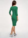 Платье в рубчик с рукавом 3/4 oodji #SECTION_NAME# (зеленый), 14001196/46412/6E00N - вид 3