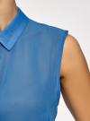Топ из струящейся ткани с рубашечным воротником oodji для женщины (синий), 14903001B/42816/7501N - вид 5