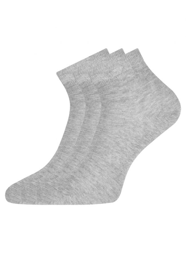 Комплект из трех пар укороченных носков oodji для женщины (серый), 57102418T3/47469/66