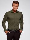 Рубашка базовая приталенная oodji для мужчины (зеленый), 3B140000M/34146N/6600N - вид 2