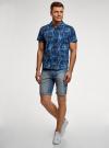 Рубашка принтованная с коротким рукавом oodji #SECTION_NAME# (синий), 3L410132M/19370N/7570G - вид 6