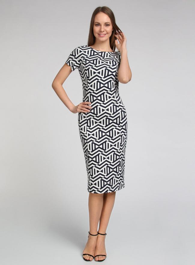 Платье трикотажное с графическим принтом oodji #SECTION_NAME# (синий), 14018001/45396/7912G
