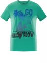 Футболка хлопковая с пляжным принтом oodji для мужчины (зеленый), 5L611064I/44135N/6573P