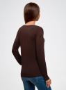 Жакет вязаный базовый с V-образным вырезом oodji #SECTION_NAME# (коричневый), 73212151-9B/45904/3900N - вид 3