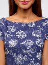 Платье трикотажное с вырезом-лодочкой oodji для женщины (синий), 14001117-15B/46944/7912E