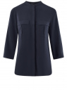 Блузка вискозная с нагрудными карманами oodji #SECTION_NAME# (синий), 11403225-7B/42540/7900N