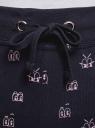 Брюки трикотажные на завязках oodji для женщины (синий), 16701042/46919/7940O