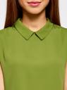 Блузка базовая без рукавов с воротником oodji #SECTION_NAME# (зеленый), 11411084B/43414/6B00N - вид 4