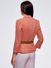Жакет льняной с широким ремнем oodji #SECTION_NAME# (розовый), 21202076-2/45503/3300N - вид 3