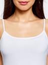 Комплект маек на тонких бретелях (3 штуки) oodji для женщины (белый), 14305023T3/46147/1000N