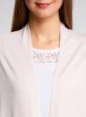 Кардиган удлиненный без застежки oodji для женщины (розовый), 73212385-2/42506/4000N