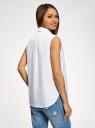 Рубашка прямая без рукавов oodji #SECTION_NAME# (белый), 14911017/49224/1000N - вид 3