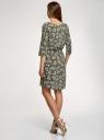 Платье вискозное с рукавом 3/4 oodji для женщины (зеленый), 11901153-3B/42540/6612F