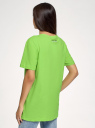Футболка свободного силуэта с принтом oodji для женщины (зеленый), 14701112-3/44135N/6A29P