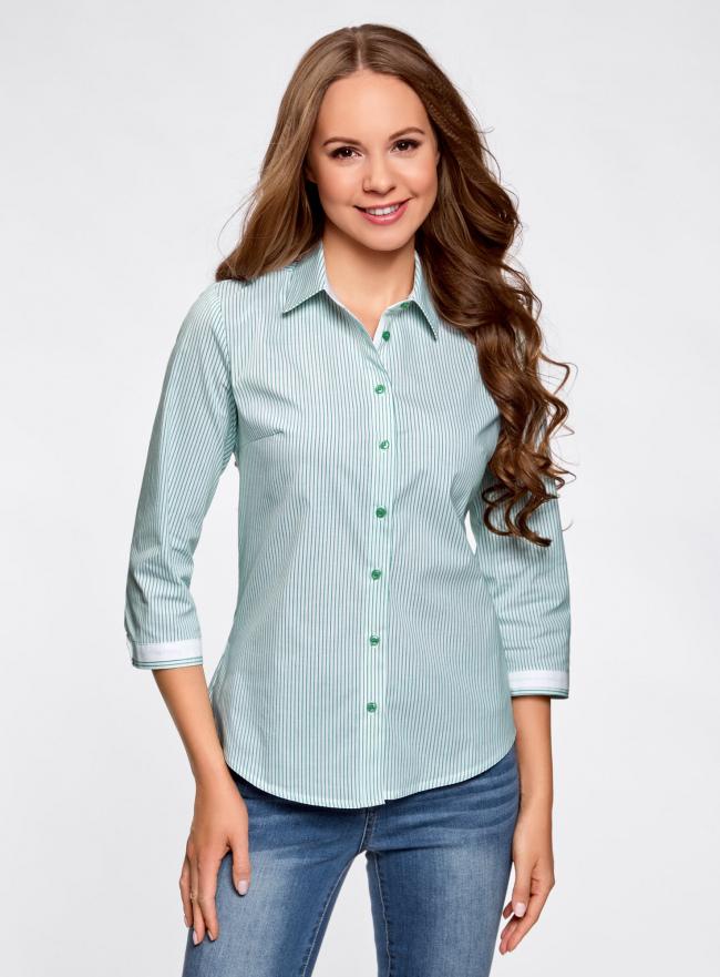 Рубашка с контрастной отделкой и рукавом 3/4 oodji #SECTION_NAME# (зеленый), 11403201-1B/43346/106DS