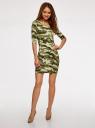 Платье трикотажное облегающего силуэта oodji для женщины (зеленый), 14001121-4B/46943/6025O