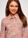 Блузка базовая из вискозы oodji #SECTION_NAME# (розовый), 11411136B/26346/5420E - вид 4