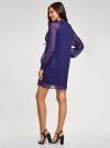 Платье шифоновое с манжетами на резинке oodji #SECTION_NAME# (синий), 11914001/46116/7500N - вид 3